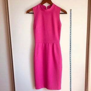 love...ady Hot Pink High Collared Bodycon Dress